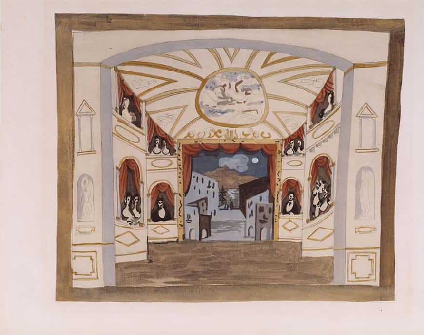Pablo Picasso (d'après)Étude de décor pour le ballet Pulcinella [ca. 1920]Procédé Jacomet (gouache appliquée au pochoir sur impression phototypique)BnF, Bibliothèque-musée de l'Opéra