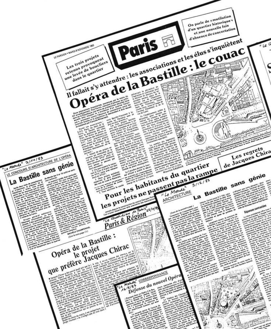 Extraits de presse (Le Monde, Le Parisien, Le Quotidien de Paris), novembre 1983
