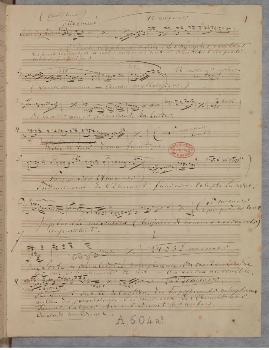 Richard Wagner - Manuscrit autographe, 32,5 x 25,5 cm. BnF, département de la Musique, Bibliothèque-musée de l'Opéra.
