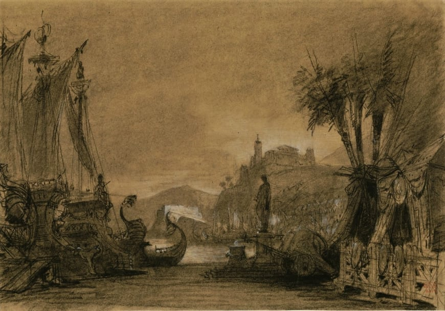 Esquisse de décor de l'acte III pour Les Troyens à Carthage par Charles-Antoine Cambon, 1863