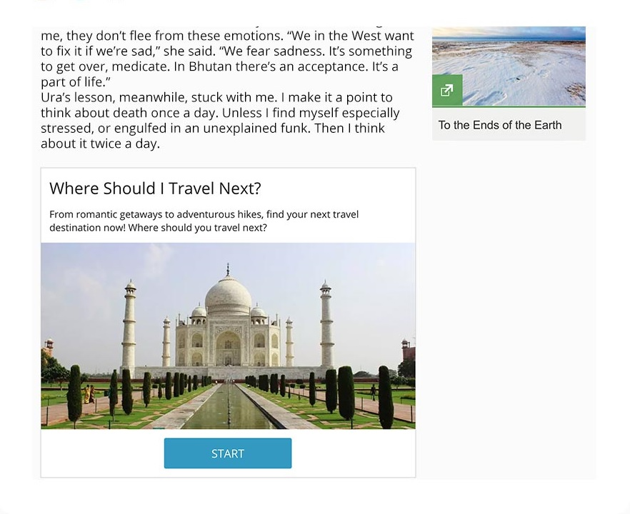 interactive article embed in website