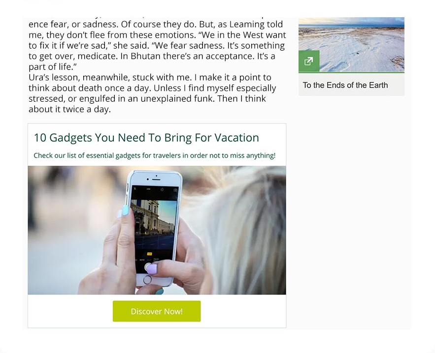 Example of a slideshow embed on a webpage