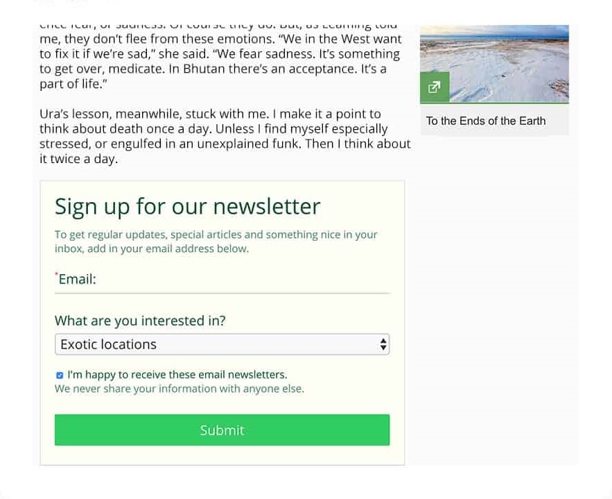 online form creator embed in article