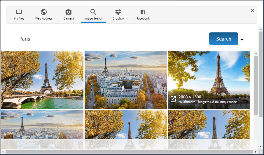 story maker integrated search for images function