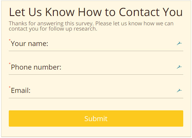 survey contact form example