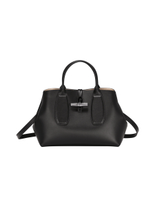 Longchamp - Roseau Box - Top Handle Bag M - Nahkalaukku - BLACK | Stockmann
