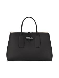 Longchamp - Roseau Top Handle Bag L - Nahkalaukku - BLACK | Stockmann