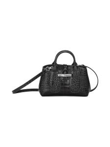Longchamp - Roseau Croco - Top handle bag XS - Nahkalaukku - BLACK | Stockmann
