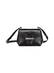 Longchamp - Roseau Croco - Crossbody bag XS - Nahkalaukku - BLACK   Stockmann