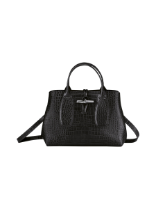 Longchamp - Roseau Croco - Top handle bag M - Nahkalaukku - BLACK | Stockmann