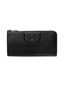 Longchamp - Le Pliage Cuir - Long Zip Aroud Wallet - Nahkalompakko - BLACK | Stockmann