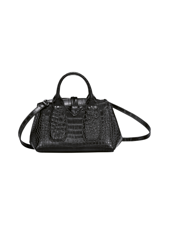 Longchamp - Roseau Croco - Top handle bag XS - Nahkalaukku - BLACK | Stockmann - photo 4
