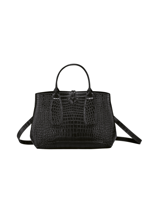 Longchamp - Roseau Croco - Top handle bag M - Nahkalaukku - BLACK | Stockmann - photo 4