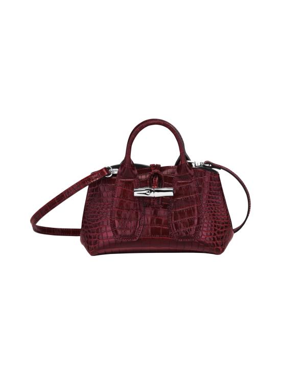 Longchamp - Roseau Croco - Top handle bag XS - Nahkalaukku - BURGUNDY   Stockmann - photo 1