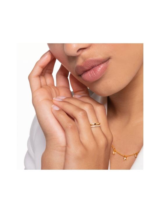 Thomas Sabo - Thomas Sabo Ring Double White Stones Gold -sormus | Stockmann - photo 2