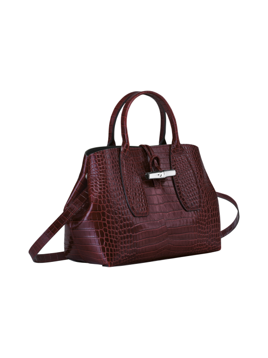 Longchamp - Roseau Croco - Top handle bag M - Nahkalaukku - BURGUNDY | Stockmann - photo 3