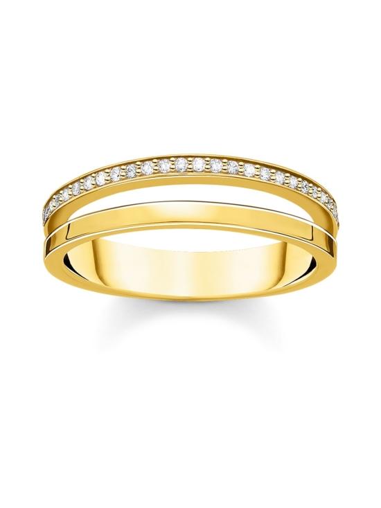 Thomas Sabo - Thomas Sabo Ring Double White Stones Gold -sormus | Stockmann - photo 1