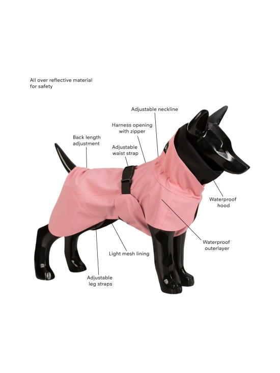 PAIKKA - Visibility Raincoat Lite Pink for Dogs - 4 | Stockmann - photo 3
