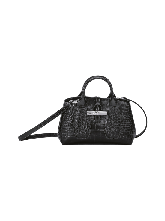 Longchamp - Roseau Croco - Top handle bag XS - Nahkalaukku - BLACK | Stockmann - photo 1
