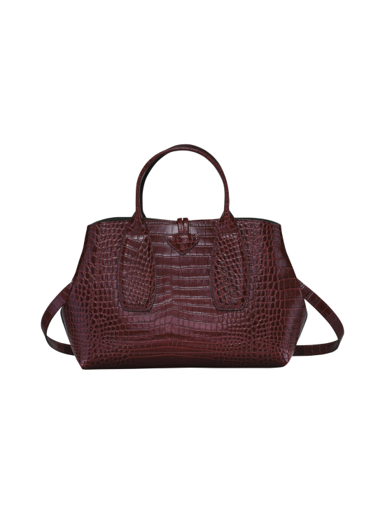 Longchamp - Roseau Croco - Top handle bag M - Nahkalaukku - BURGUNDY | Stockmann - photo 4
