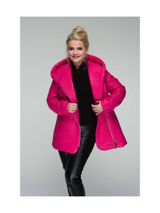 CELIA Pink Hupullinen Mini Stripe Tikattu Takki