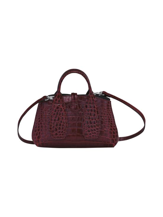 Longchamp - Roseau Croco - Top handle bag XS - Nahkalaukku - BURGUNDY   Stockmann - photo 4