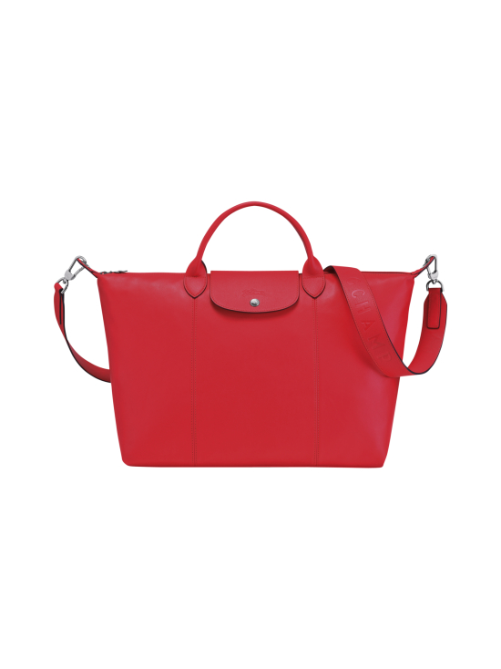 Longchamp - Le Pliage Cuir Top Handle bag L - Nahkalaukku - RED | Stockmann - photo 1