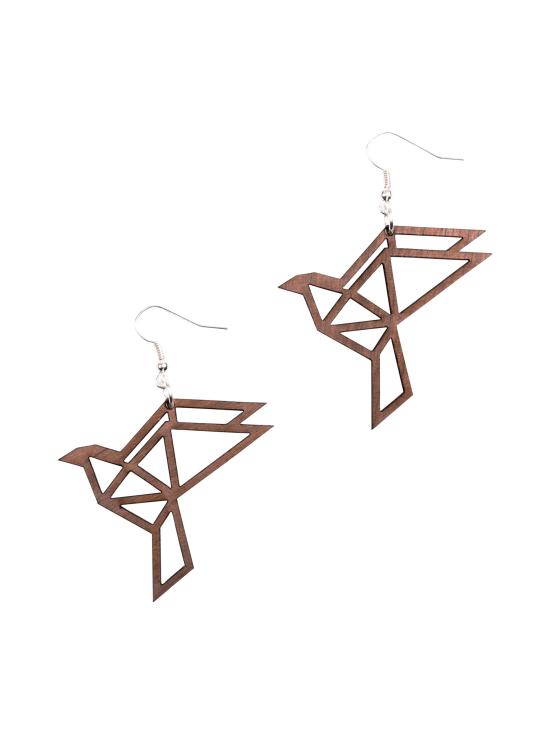 YO ZEN - Origami Dove -korvakorut, pähkinäpuu - RUSKEA   Stockmann - photo 1