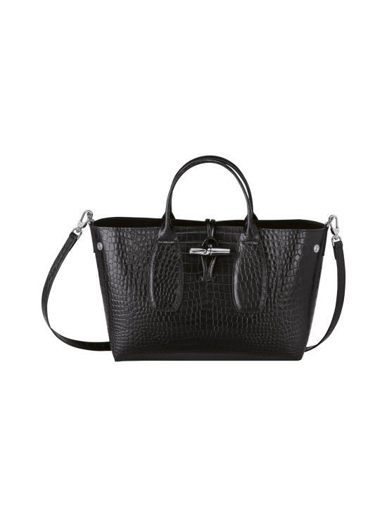 Longchamp - Roseau Croco - Top handle bag M - Nahkalaukku - BLACK | Stockmann - photo 2