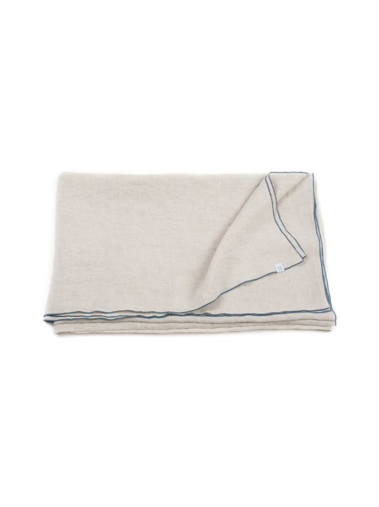 Gauhar Helsinki - Blue Stitching-pellavainen pöytäliina 180 cm x 250 cm - BEIGE | Stockmann - photo 1