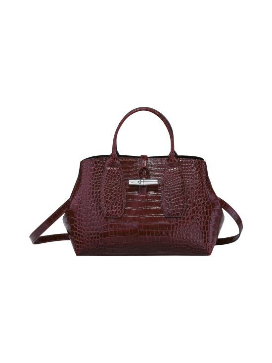 Longchamp - Roseau Croco - Top handle bag M - Nahkalaukku - BURGUNDY | Stockmann - photo 1