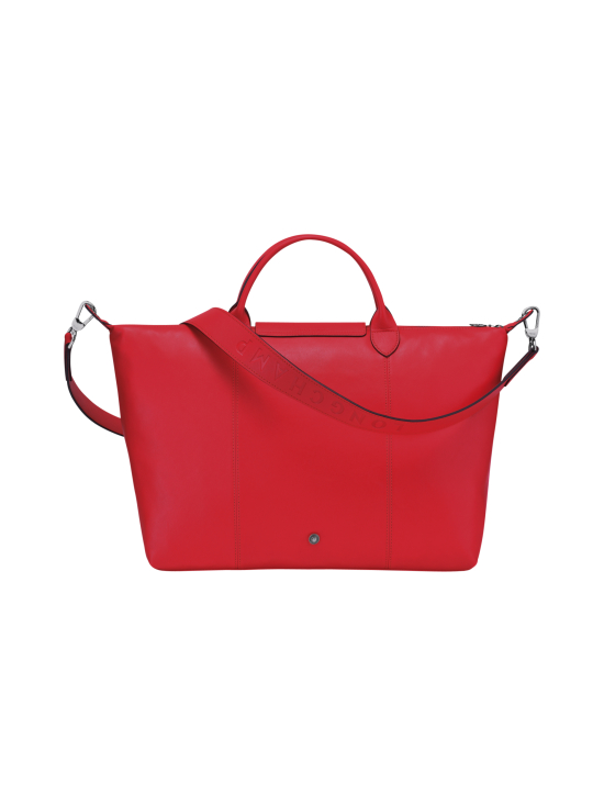 Longchamp - Le Pliage Cuir Top Handle bag L - Nahkalaukku - RED | Stockmann - photo 3