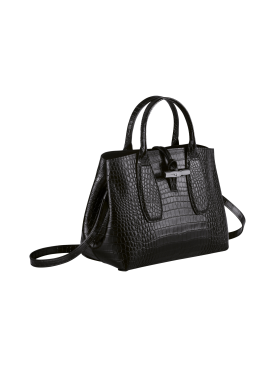 Longchamp - Roseau Croco - Top handle bag M - Nahkalaukku - BLACK | Stockmann - photo 3