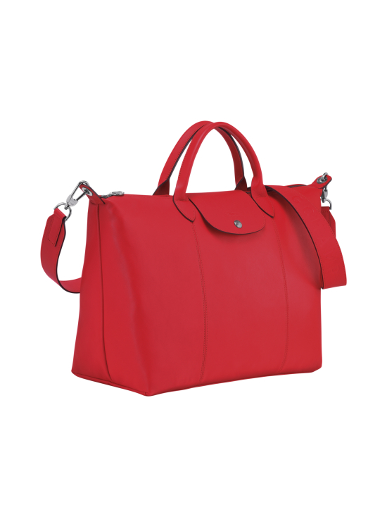 Longchamp - Le Pliage Cuir Top Handle bag L - Nahkalaukku - RED | Stockmann - photo 2