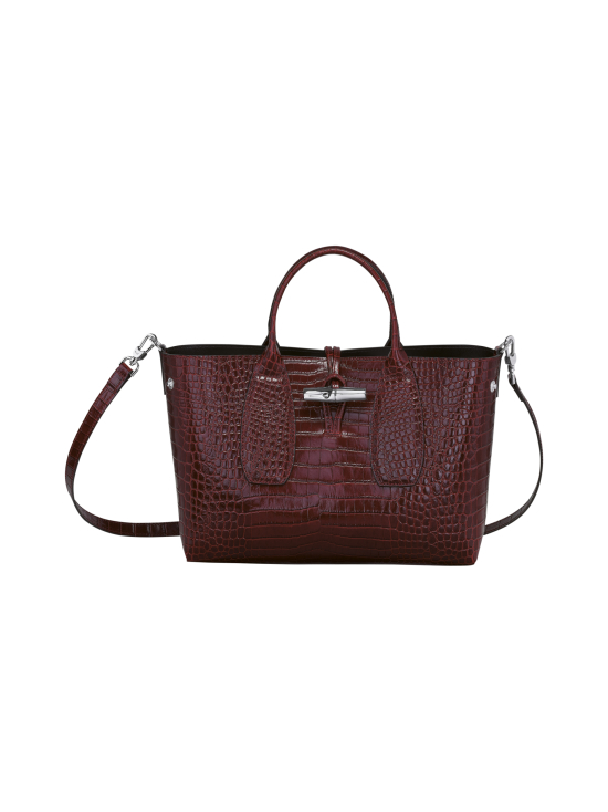 Longchamp - Roseau Croco - Top handle bag M - Nahkalaukku - BURGUNDY | Stockmann - photo 2
