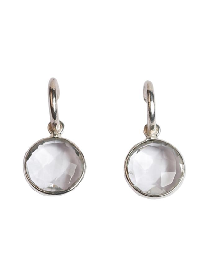 Clear Quartz Silver Hoops-korvakorut
