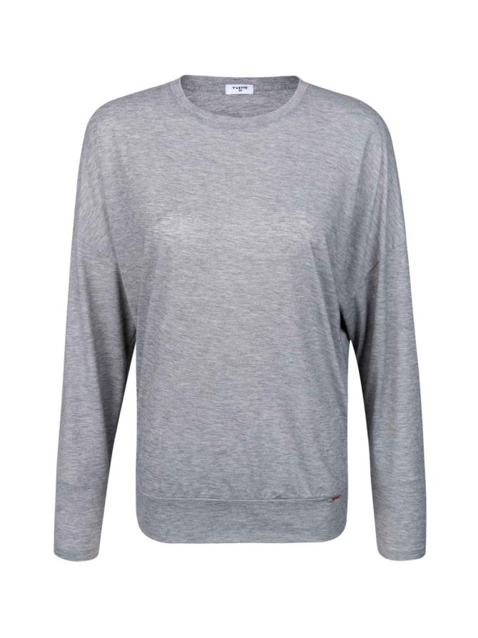 Yvette Basic Grey pitkähihainen pusero, meleerattu harmaa