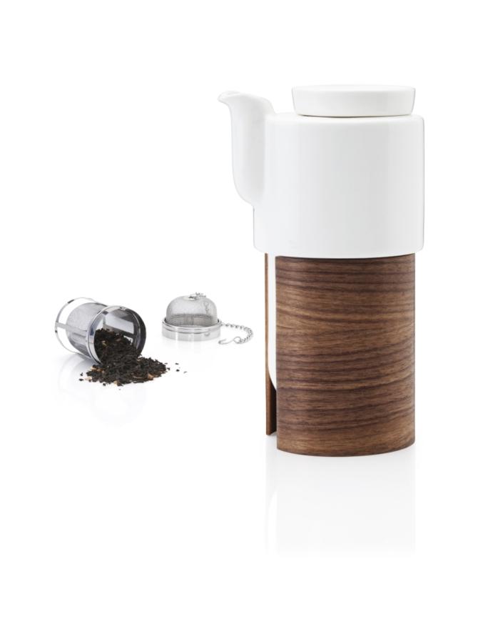 WARM teekannu, 60 cl – valkoinen/pähkinä, posliinikansi