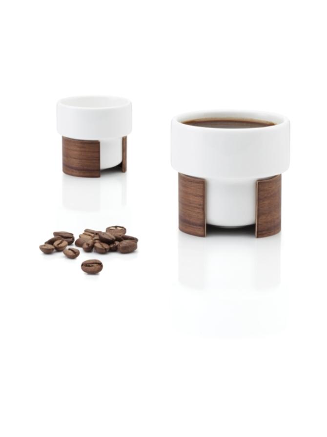 WARM espressokuppi, 8 cl – valkoinen/pähkinä, 2 kpl:n setti