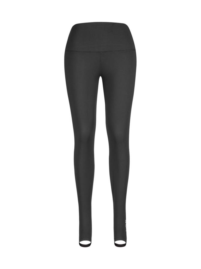 Korkeavyötäröinen leggings jalkalenkillä, musta