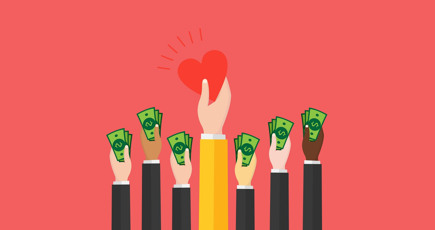 Illustration of hands holding cash, and another holding a heart, representing financial relief.
