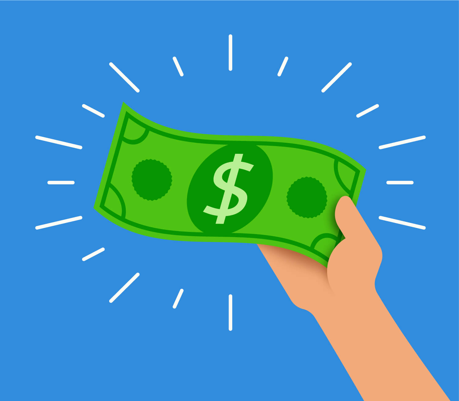 Hand holding money from personal loan