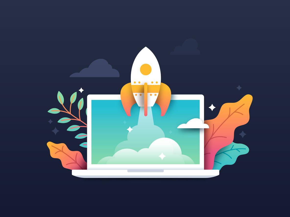 Illustration of rocket taking off from laptop