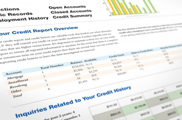 An image of what a typical credit report looks like.