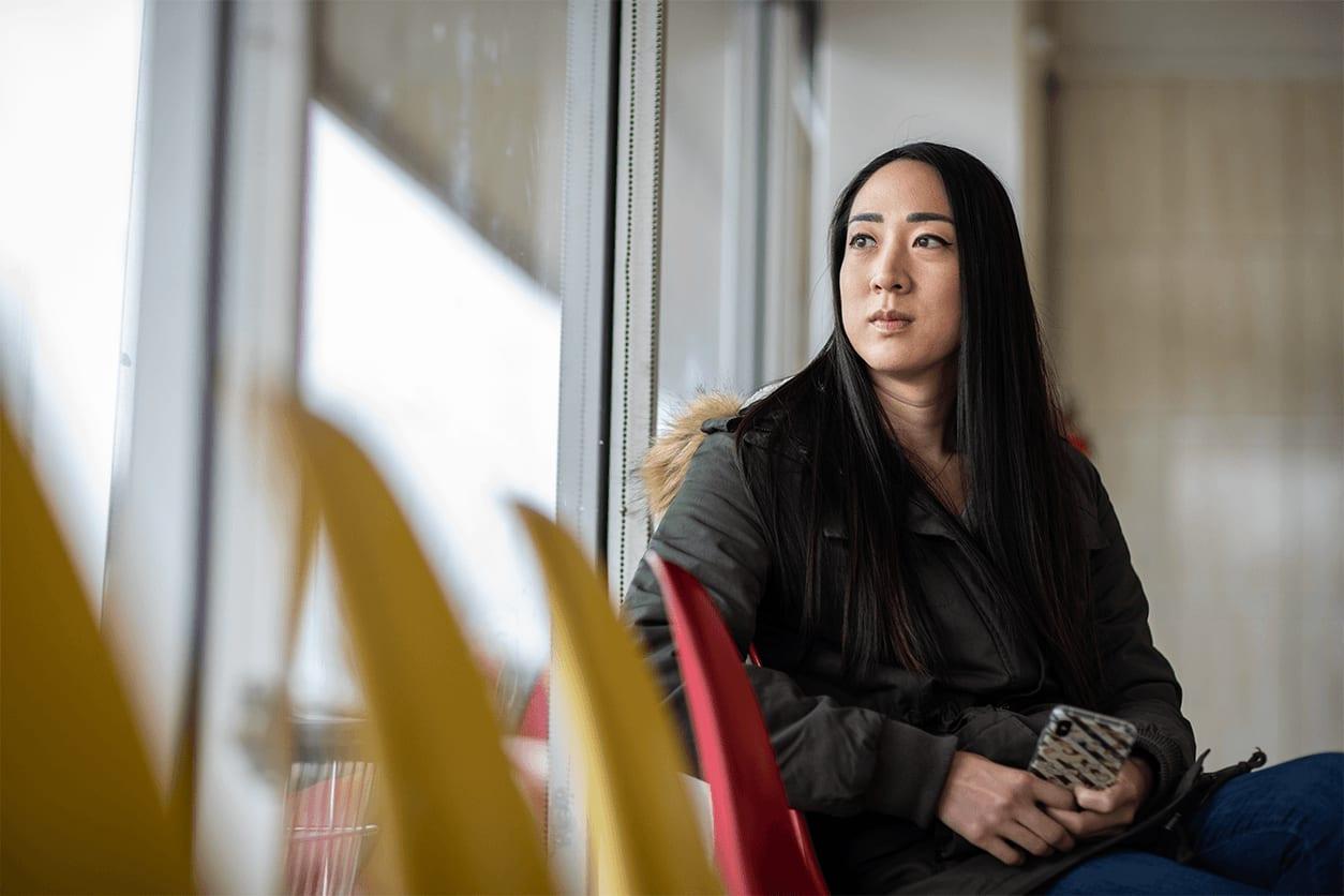 Woman ponders her journey toward better credit.