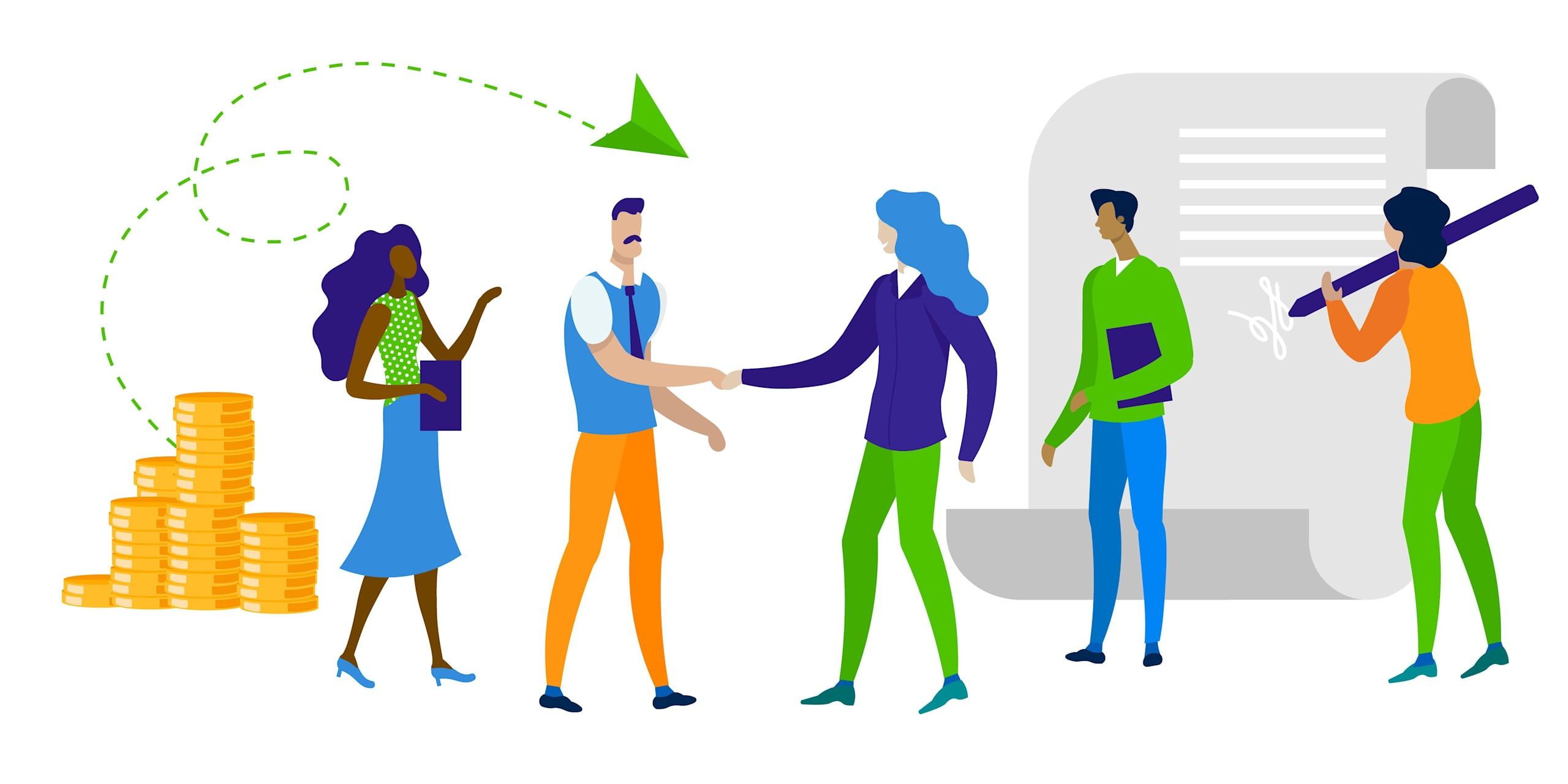 Illustration of 5 people hanging out happily due to their affordable credit and all the savings they're getting with lower APRs