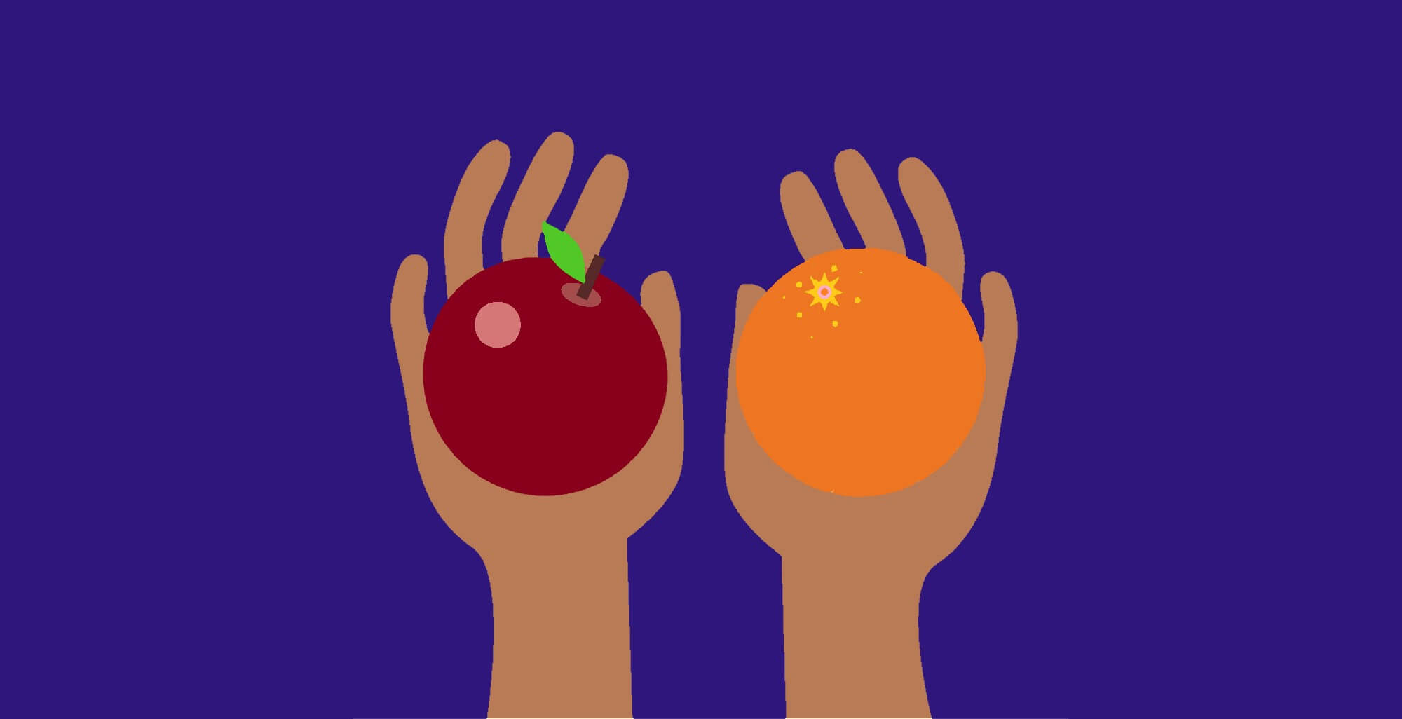 Illustration representing personal loans verse payday loans, represented by two hands holding an apple and an orange.