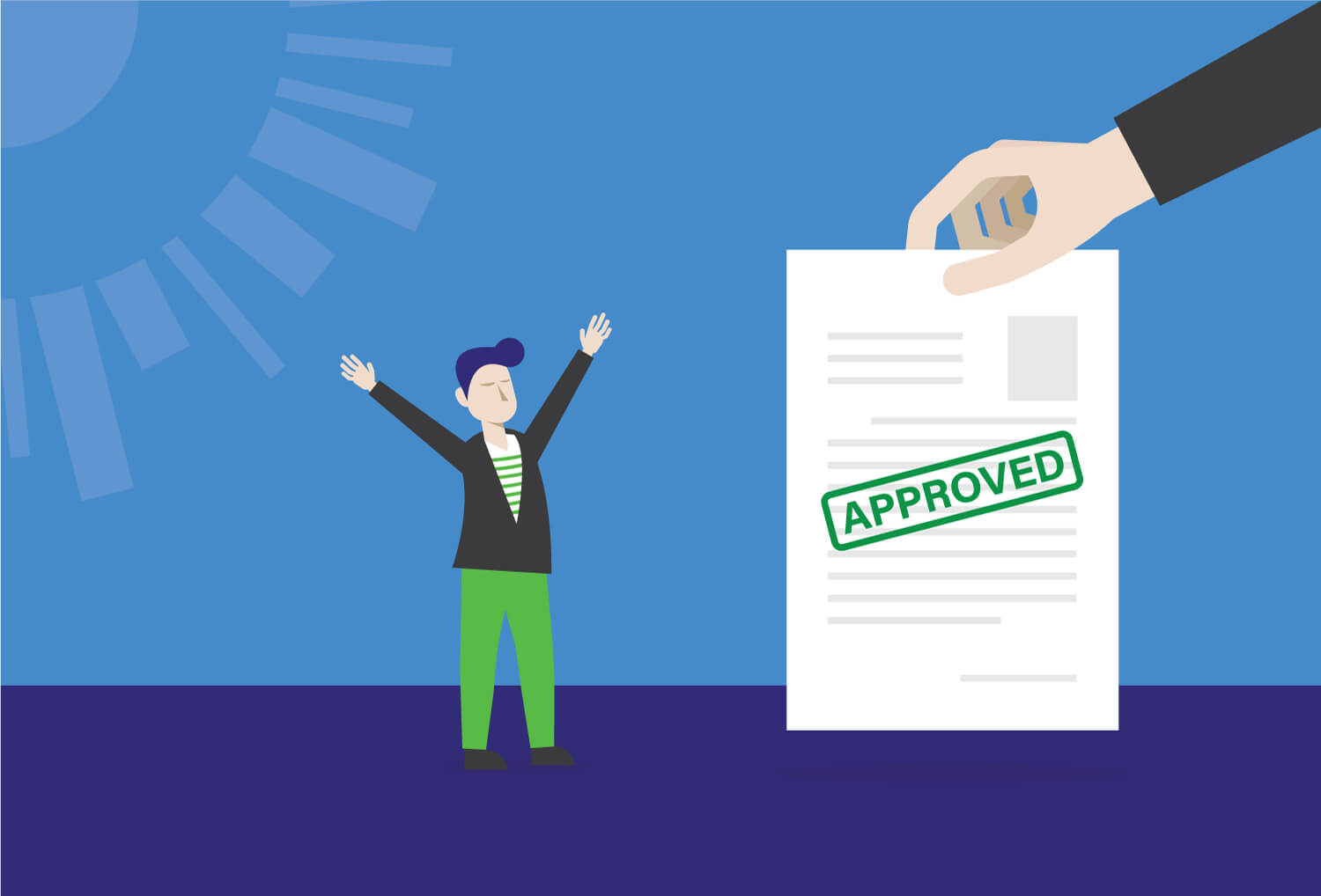 Illustration of a celebrating person when their personal loan application is approved.