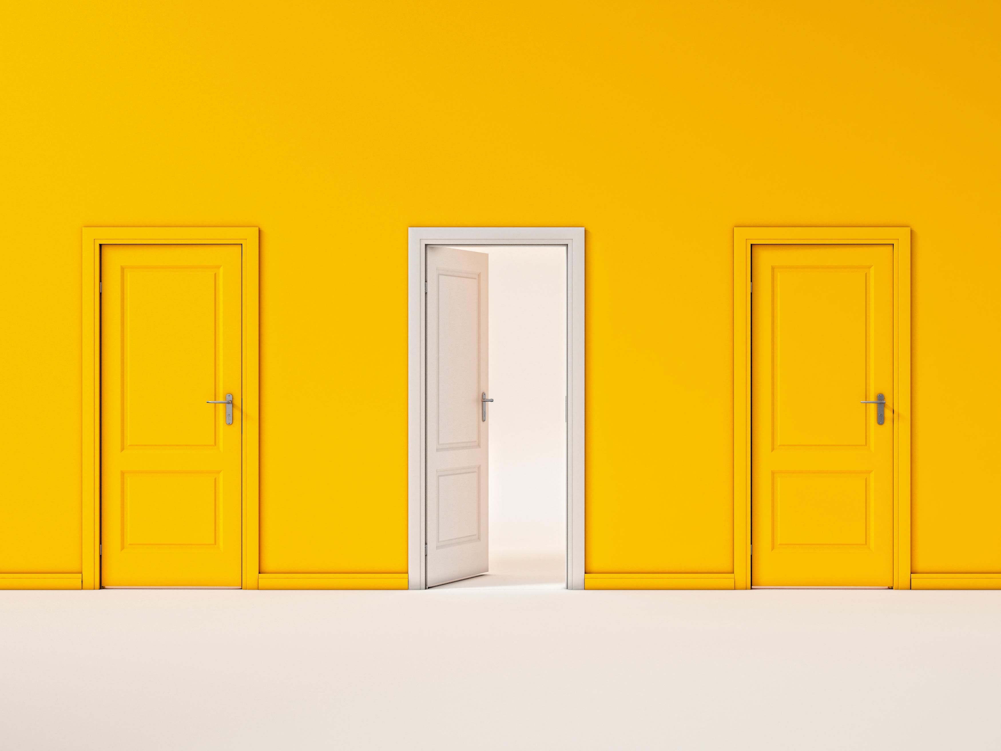 White Door on Yellow Wall, Illustration Business Door