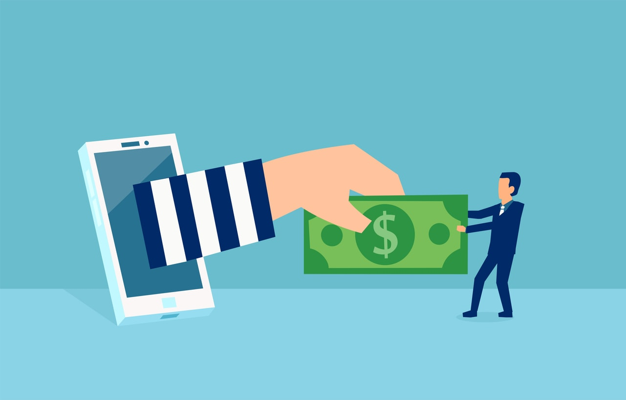 Illustration of hand reaching out of a mobile phone to steal money out of another person's hands via an online scam